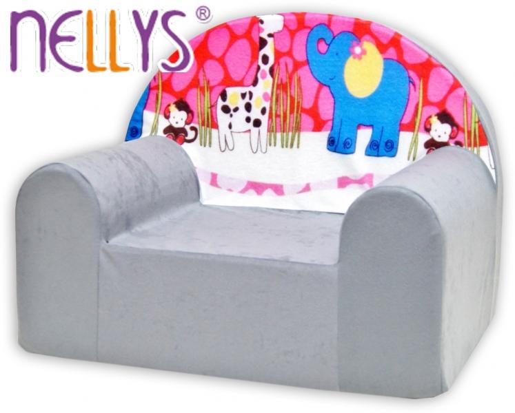 Detské kresielko / pohovečka Nellys ® - Safari v šedej