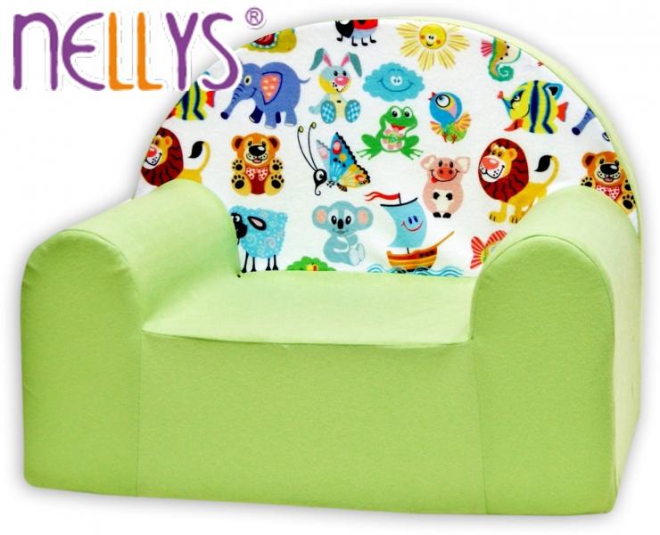 Detské kresielko / pohovečka Nellys ® - Veselá zvieratká v zelenej