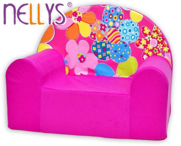 Detské kresielko / pohovečka Nellys ® - Kvetinky v ružovej