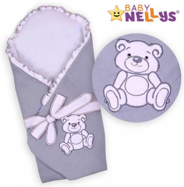 Zavinovačka s výztuží Baby Nellys - Medvídek Teddy - jersey - šedá