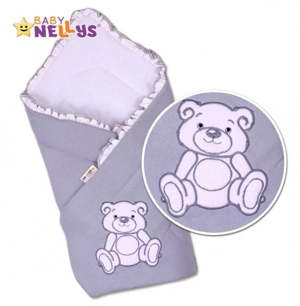 Zavinovačka Baby Nellys - Medvídek Teddy - jersey - šedá
