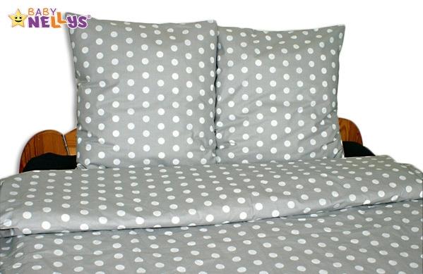 Bavlnené obliečky 140x200 / 70x90 - bodky v šedej