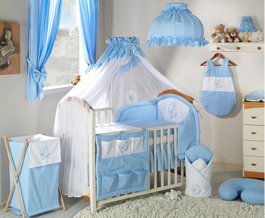 Luxusný mega set s moskytierou - Mesiačik modrý