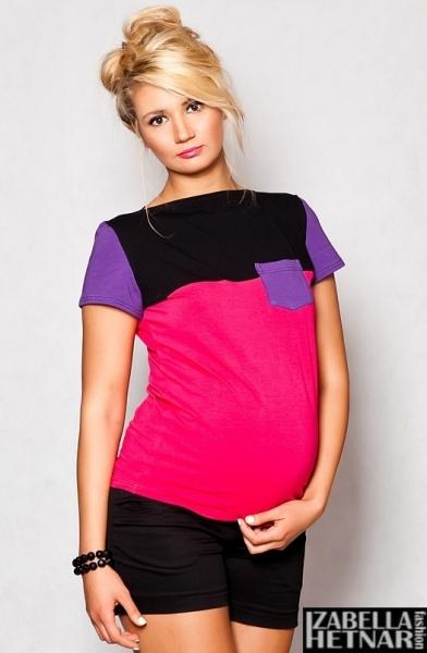 Tehotenské tričko krátky rukáv ANNA - ružová