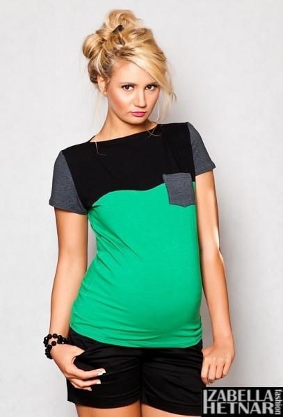 Be MaaMaa Tehotenské tričko / blúzka ANNA - zelené