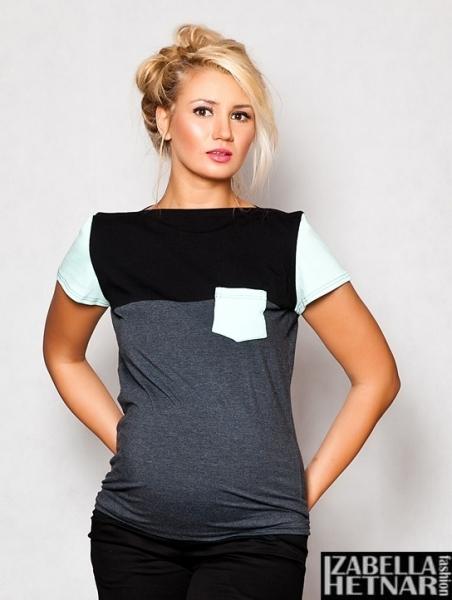 Be MaaMaa Tehotenské tričko / blúzka ANNA - grafitová