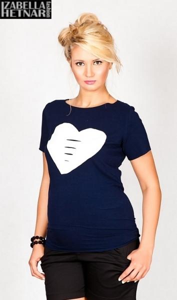Tehotenské tričko krátky rukáv SRDCE - granátové