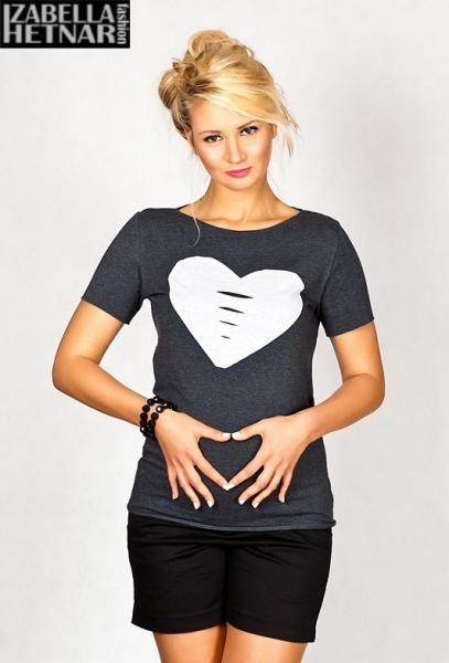 Tehotenské tričko krátky rukáv SRDCE - grafit