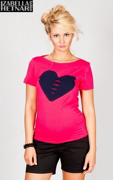 Be MaaMaa Tehotenské tričko / blúzka SRDCE - ružové