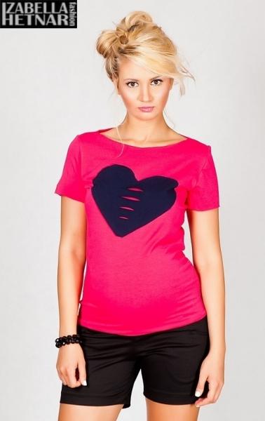 Tehotenské tričko / blúzka SRDCE - ružové