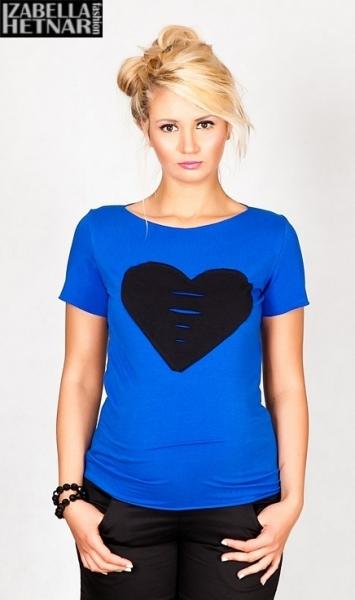 Tehotenské tričko krátky rukáv SRDCE - modré