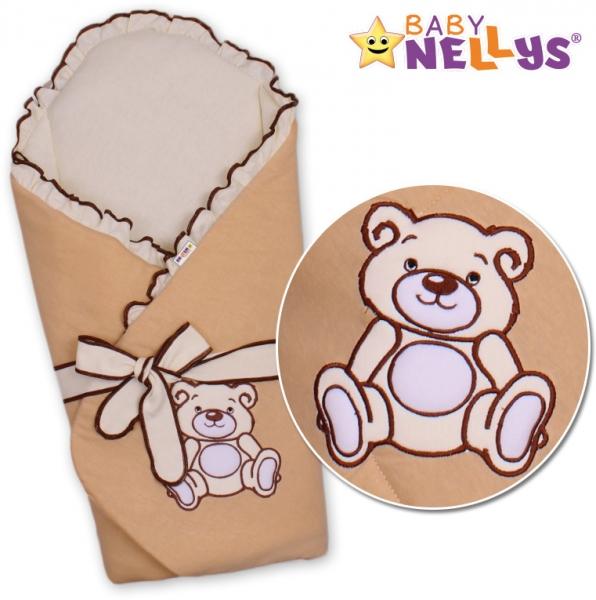 Zavinovačka s výztuží Baby Nellys - Medvídek Teddy - jersey - kakaová