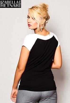 Tehotenské tričko krátky rukáv Kristal - čierna