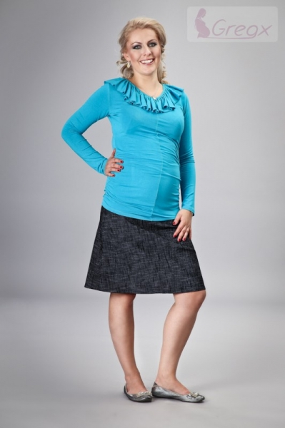 Gregx Elegantná tehotenská sukňa DENIM - čierna-XXXL (46)