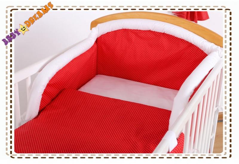 Bavlnené obliečky Baby Dreams Bubble retro - červené jemné bodky 120x90