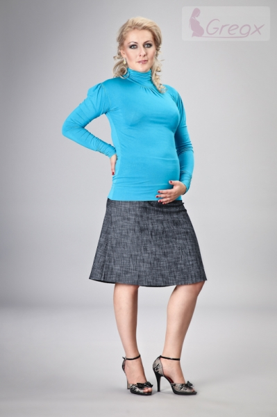 Elegantná tehotenská sukňa DENIM - granát-XXL (44)