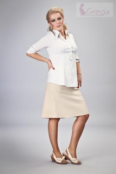 Gregx Elegantná tehotenská sukňa DENIM - béžová