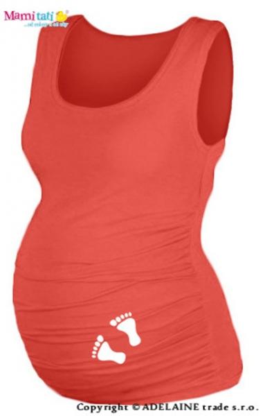 Tehotenský top s potlačou  NOŽIČKY  - koral