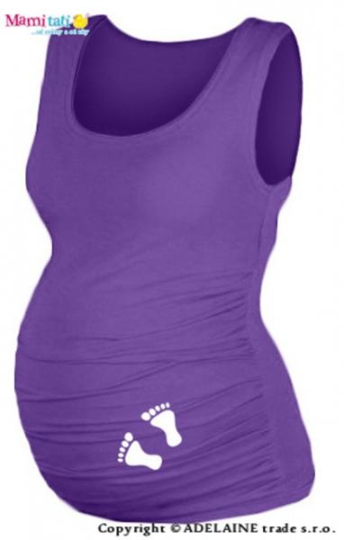 Tehotenský top s potlačou  NOŽIČKY - fialové