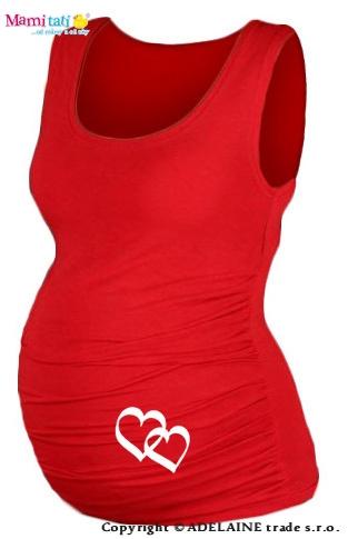 Tehotenský top s potlačou   SRDIEČKA  - červené