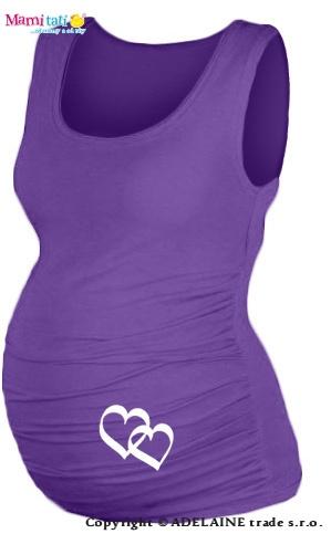Tehotenský top s potlačou   SRDIEČKA   - fialové