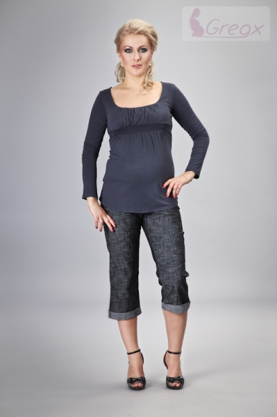 Elegantné tehotenské 3/4 nohavice DENIM - čierny melír, XL