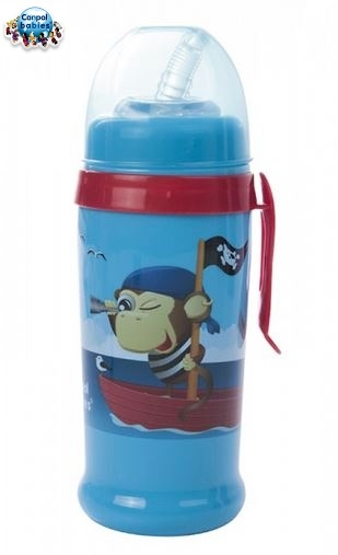 Športová nekvapkajúci fľaša s slamkou Canpol - modrá