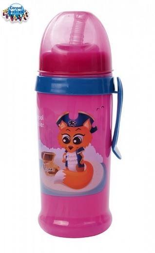 Športová nekvapkajúci fľaša s slamkou Canpol Babies - ružová / Malinková