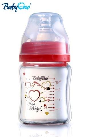 Sklenená fľaštička 120ml Baby Ono - červená