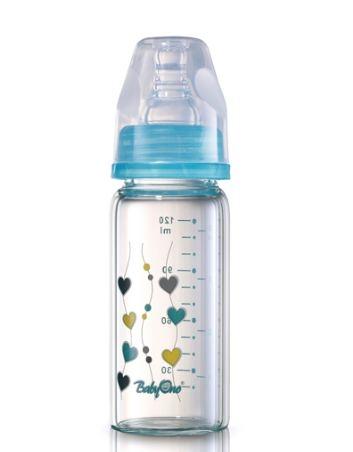 Sklenená fľaštička 120ml Baby Ono - modrá