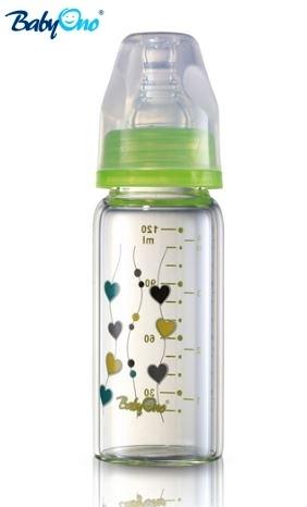 Sklenená fľaštička 120ml Baby Ono - zelená