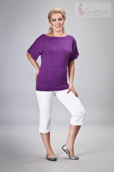 Gregx Elegantné tehotenské 3/4 nohavice DENIM - biela