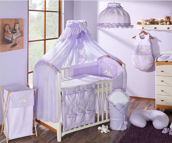 Luxusný mega set s moskytiérou - Snílek lila 120x90
