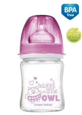 Sklenená fľaštička 120ml Canpol Babies Easy Start PURE - ružová