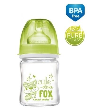 Sklenená fľaštička 120ml Canpol Babies Easy Start PURE - zelená