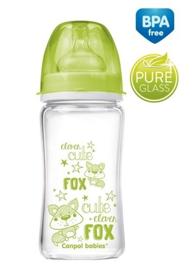 Sklenená fľaštička 240ml Canpol Babies Easy Start PURE - zelená