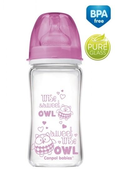 Sklenená fľaštička 240ml Canpol Babies Easy Start PURE - ružová