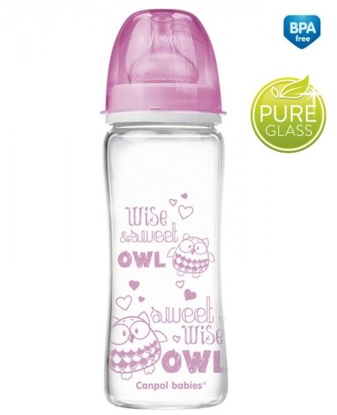 Sklenená fľaštička 330ml Canpol Babies Easy Start PURE - ružová