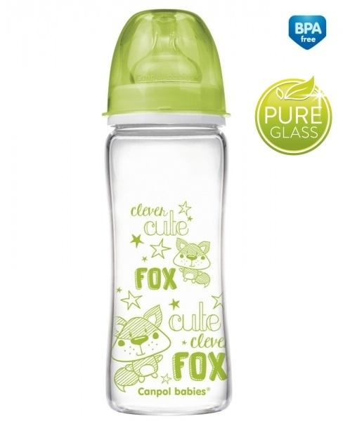 Sklenená fľaštička 330ml Canpol Babies Easy Start PURE - zelená