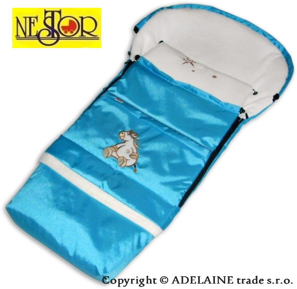 Fusak DINO LUX 90 / 110cm tyrkys / modrý - polar