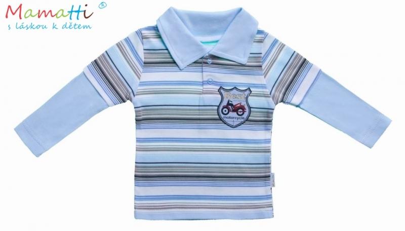 Polo tričko dl.rukáv Cestovateľ - hnedý, sv. modrý prúžok