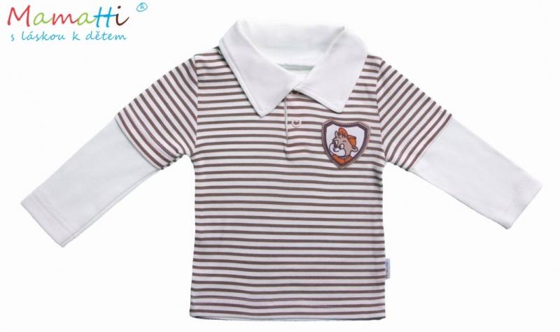 Polo tričko dl.rukáv Priatelia - hnedý prúžok