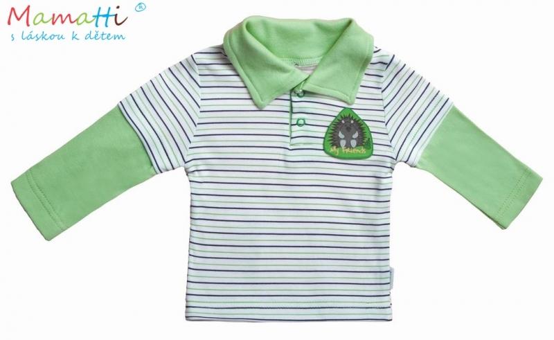 Polo tričko dl.rukáv Ježek - zelený prúžok