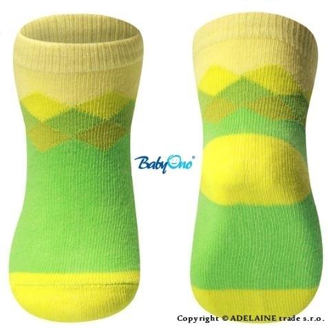 Bavlnené ponožky Baby Ono 6m + - Zeleno-žlté
