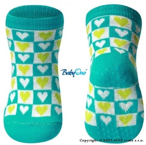 Bavlnené protišmykové ponožky Baby Ono 6m + - Srdiečka / kocky tyrkys
