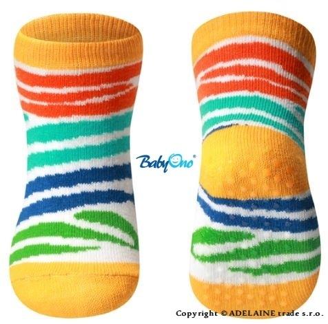 Bavlnené protišmykové ponožky Baby Ono 6m + - Farebná Zebra prúžky
