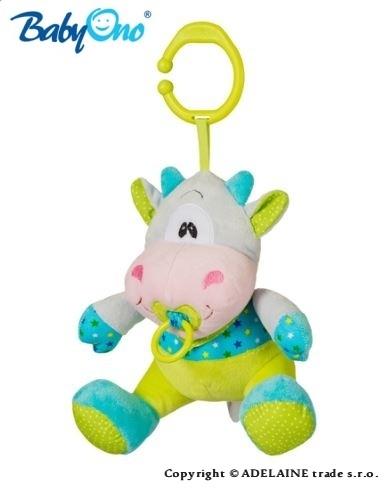 Hrkálka s klipsou a hracím strojčekom Baby Ono - KRAVIČKA