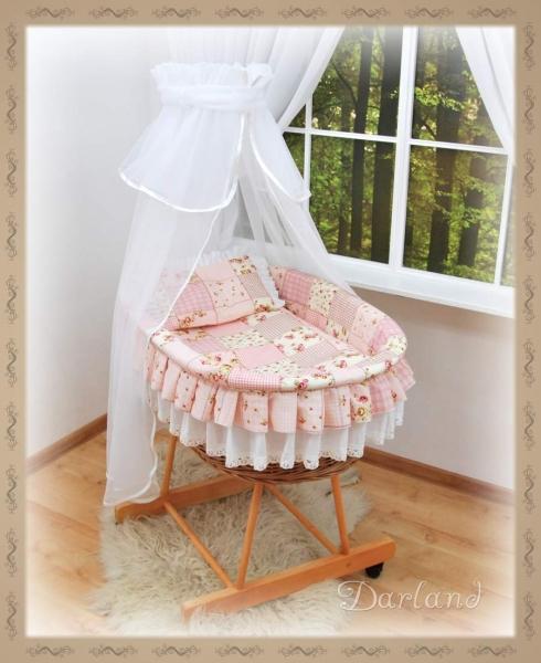 Kôš s výbavou Darland - Patchwork ružový - biela moskytiéra