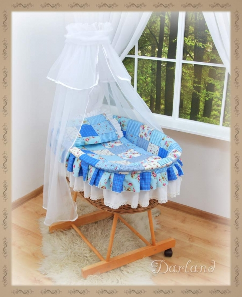 Kôš s výbavou Darland - Patchwork modrý -biela moskytiéra