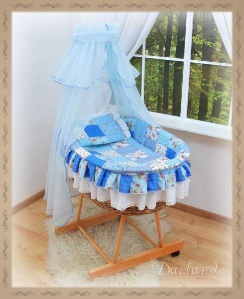 Kôš s výbavou Darland - Patchwork modrý - sv. modrá moskytiéra
